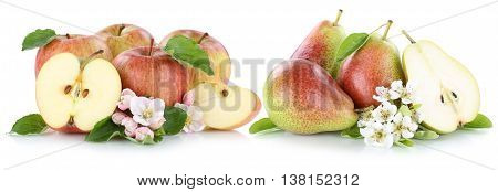 Apple And Pear Apples Pears Fruit Red Fresh Fruits Slice Isolated On White