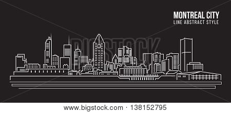 Cityscape Building Line art Vector Illustration design - Montreal city