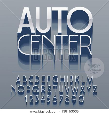 Set of slim reflective alphabet letters, numbers and punctuation symbols. Vector silver logotype with text Auto center. File contains graphic styles