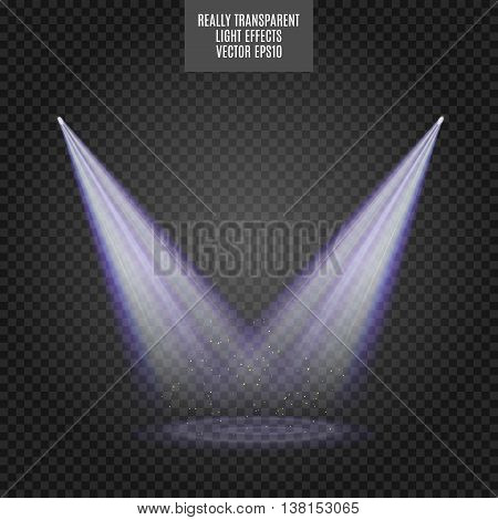 Scene illumination. Bright blue lighting with spotlights. Really transparent effect.