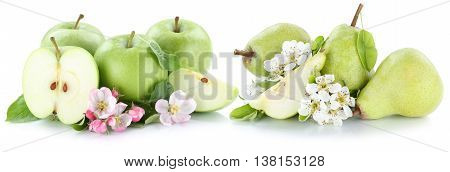 Apple And Pear Apples Pears Fresh Fruit Green Fruits Slice Isolated