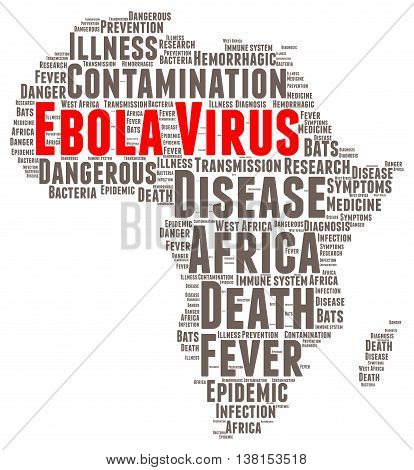 Ebola virus word cloud concept with a white background