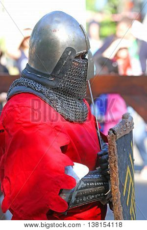 A Medieval Knight In Battle Close Up
