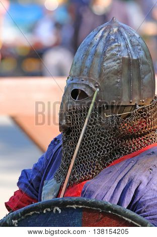 The Medieval Knight In Battle Close Up
