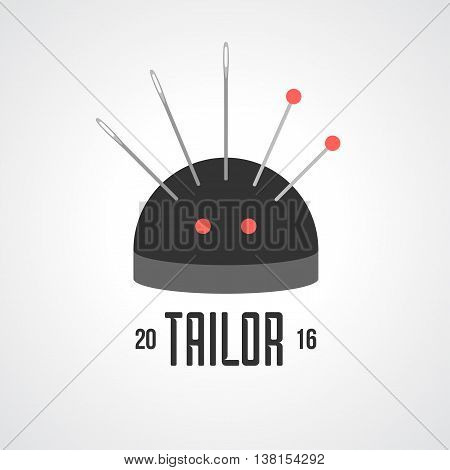 Tailor shop vector logo sign emblem. Design element for sewing and tailoring craft service with needle