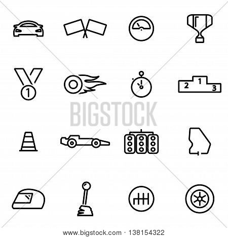 Vector illustration of thin line icons - racing on white background