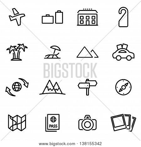 Vector illustration of thin line icons - travel on white background