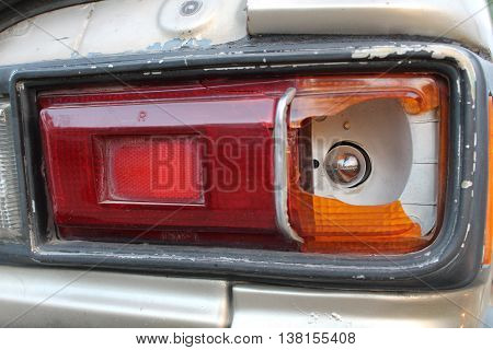 close up Car brake lights broken background