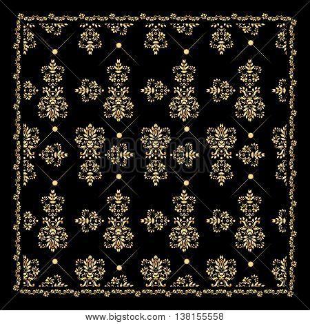 Gold bandana silk scarf.Luxury golden design for t-shirt fabric print design.Vector illustration