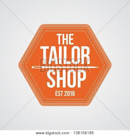 Tailor shop vector logo sign emblem. Vintage retro design element with needle as a stamp for tailoring and sewing service
