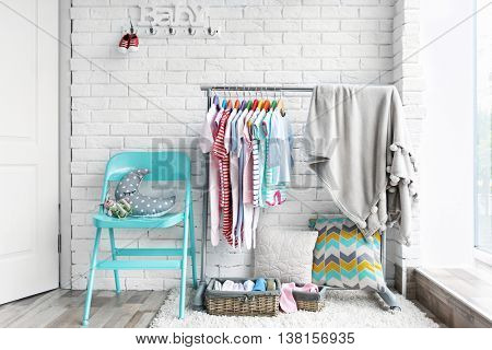 Clothes for kids on hangers