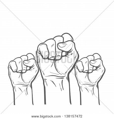 Many a man's fist on a red background. illustration sketch of three human hands raised up, drawn by hand. art concept of resistance, strength, majority, fight, defending rights of society