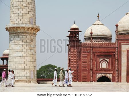 Indian people in Taj Mahal palase