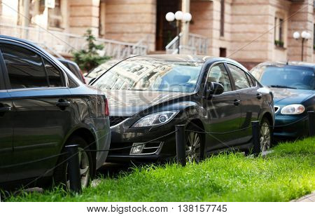 Cars parking near building