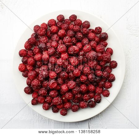 Plate Of Dried Cranberries