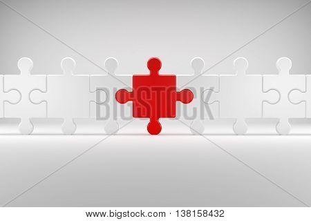 3d illustration Puzzle symbolizes the Team spirit