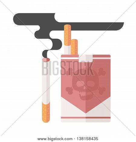 Icons about smoking, illustration flat, the dangers of smoking. pack of cigarettes. nicotine dangerous smoke. danger to life and limb due to nicotine