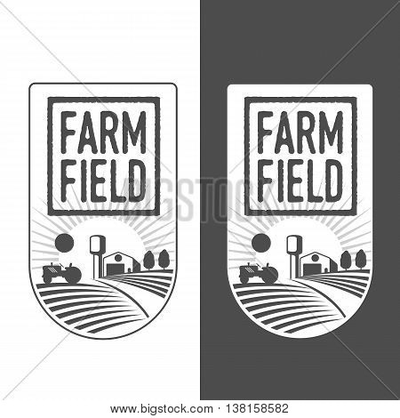 Farm field labels set of logos farming. field with barn, land and trees, badges with fields farm badges isolated on white and black background