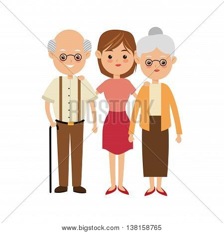 Family cartoon concept represented by grandparents with daughter icon. Isolated and Colorfull illustration.