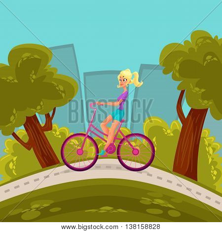 Girl rides a bicycle through the city, cartoon comic illustration blond girl moves around the city by bike, a bike ride around the city park