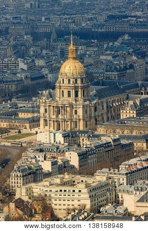 Cathedral of Les Invalides with Napoleon's tomb in Paris France