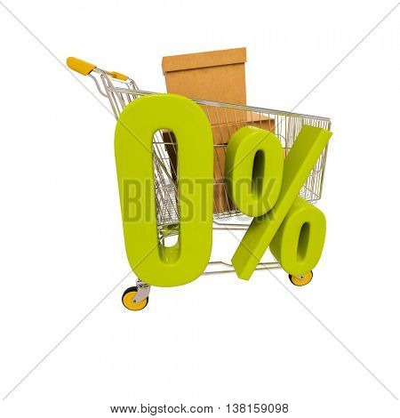 3d render: shopping cart and green 0 percentage sign isolated on white