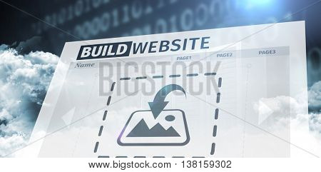 Composite image of build website interface against data center with background effects