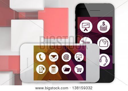 Debit card insert in mobile phone screen against abstract background