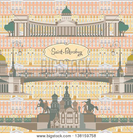 Seamless pattern with main sights of russian city Saint-Petersburg