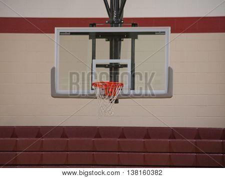 basketball hoop in a school gymnasium
