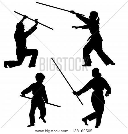 Aikido kids black silhouettes with weapons set