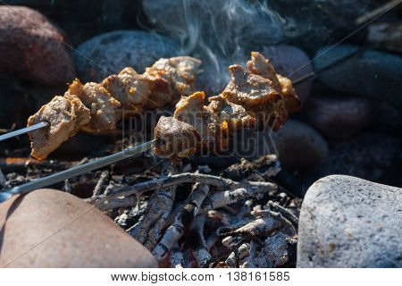 Shish kebab on skewers over a fire with charcoal.