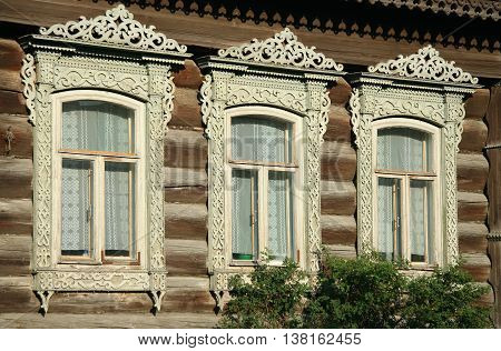 Russian tradition windows with pattern in village