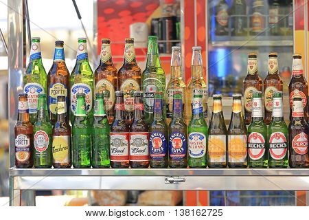 ROME ITALY - JUNE 29: Beer Selection in Rome on JUNE 29 2014. Lager and Beer Bottles Beverage at Street Vendor in Rome Italy.
