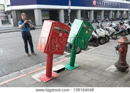 Leaning Postboxes At Zhongshan District, Taipei.
