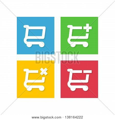 Set of vector buttons for online store, online shopping application. Icons add product in shopping carts store.