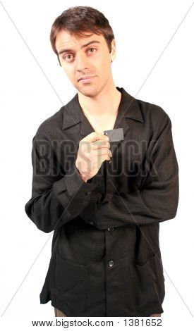 Cool Guy Holding Up Blank Shirt Label