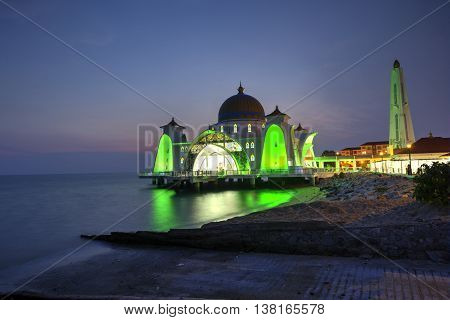 Malacca Straits Mosque (Masjid Selat) during sunset