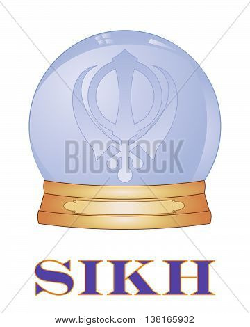 an illustration of a glass globe with sikh khanda symbol on a white background