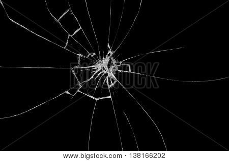Broken glass on black and dark background