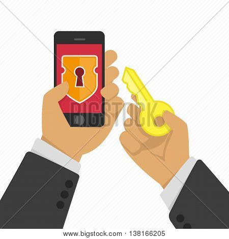 Vector illustration of stealing personal information from your mobile phone. Protection and hacker, crime theft, privacy smartphone. Hacker hacking smartphone illustration in flat style.