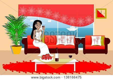 Living room interior vector illustration. The lady with the glass of wine sitting on the couch