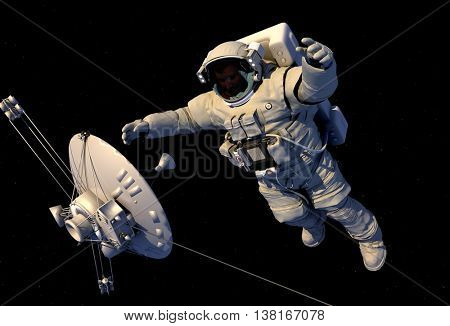 Astronaut and antenna in space.,3d render
