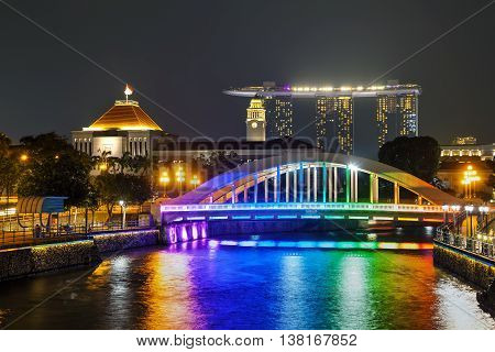 Overview of Singapore with the Elgin bridge at night