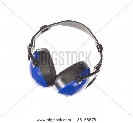 Protective blue earmuffs isolated on white background