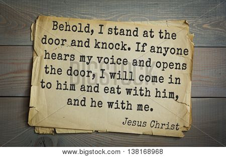 Jesus quote on old paper background. Behold, I stand at the door and knock. If anyone hears my voice and opens the door, I will come in to him and eat with him, and he with me.