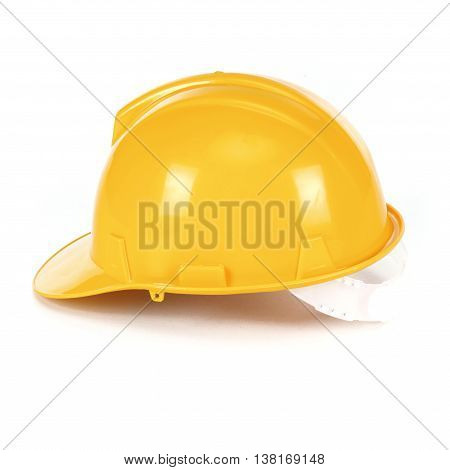 Safety yellow helmet isolated on white background