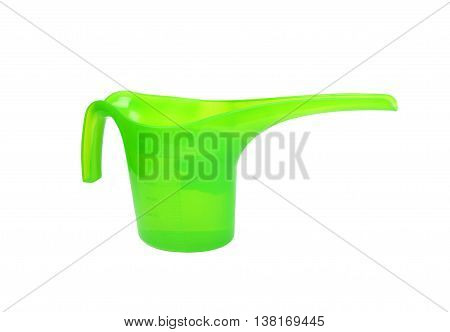 Plastic watering pot isolated on white background