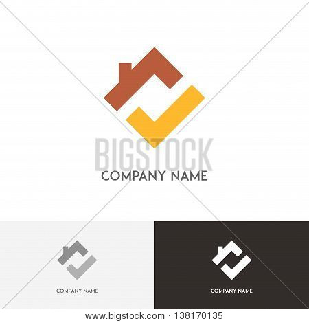 Real estate logo - house with chimney on the roof and check mark symbol on the white background