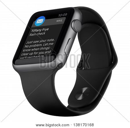 Varna Bulgaria - October 18 2015: Bottom up view of Apple Watch Sport 42mm Space Gray Aluminum Case with Black Sport Band with incoming mail icon on the display. Isolated on white background.